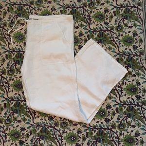 White Wide-Legged Linen Pants